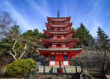 View of Chureito Pagoda in Yamanashi, Japan. The Pagoda, built in 1963 as a peace memorial, is part of the Arakura Sengen Shrine Stock Photo