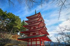View of Chureito Pagoda in Yamanashi, Japan. Chureito Pagoda at sunny day in Yamanashi, Japan. The Pagoda, built in 1963 as a peace memorial, is part of the Royalty Free Stock Image