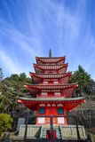 View of Chureito Pagoda in Yamanashi, Japan. Facade of Chureito Pagoda in Yamanashi, Japan. The Pagoda, built in 1963 as a peace memorial, is part of the Arakura Royalty Free Stock Image