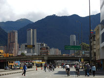 View of the Ciclovia in Bogota, Colombia. Stock Photos