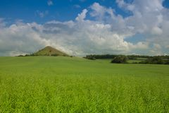 View on Cicov hill in Czech Bohemian Highlands, Czech Republic. Nature monument royalty free stock photography