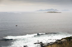 View of the Cies Islands from the coast Royalty Free Stock Image