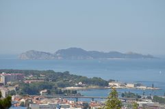 View Of The Cies Islands From The Mountain Of Castro In Vigo. Nature, Architecture, History, Travel. August 16, 2014. Vigo, royalty free stock photography