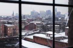 Cincinnati, Ohio Skyline from Barren Window on Dreary Winter Afternoon royalty free stock photo