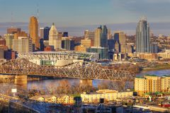 View of the Cincinnati skyline. A View of the Cincinnati skyline stock images