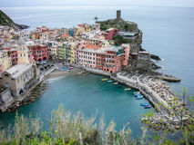 View of cinque terra town from hiking trail Stock Images