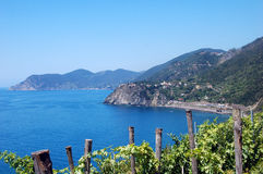 View of Cinque-Terre. View of Corniglia, taken from Manarola, Both villages are part of the Cinque-terre,Italy Stock Photo