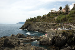 View of the Cinque Terre from riomaggiore Stock Photography