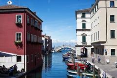 View of cioggia. Boats on the water street in cioggia Stock Photo