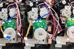 circuit boards on cartridges of new printers Royalty Free Stock Image