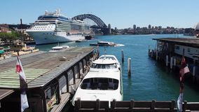 Circular Quay, Sydney Harbour, Australia. View of Circular Quay, with a large white cruise liner, and the Sydney Harbour Bridge, NSW, Australia stock video footage