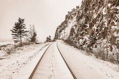View of Circum-Baikal Railway at winter day time. Russia Royalty Free Stock Photo