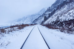 View of Circum-Baikal Railway at winter day time. Russia Stock Photos