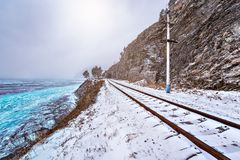 View of Circum-Baikal Railway at winter day time. Siberia. Russia Royalty Free Stock Photography