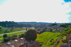 View of Circus Maximus from Roman Forum in Rome, Italy royalty free stock photos