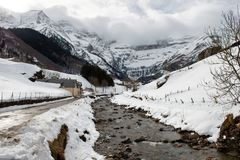 View of the Cirque de Gavarnie under cloudy sky. View of the Cirque de Gavarnie under a cloudy sky Royalty Free Stock Photo