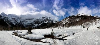 View of the Cirque de Gavarnie under cloudy sky. View of the Cirque de Gavarnie under a cloudy sky Stock Photography