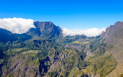 View of the Cirque de Mafate with cloud Royalty Free Stock Photos
