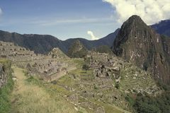 View of the Citadel of  Machu Picchu, Peru. Royalty Free Stock Images