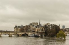 View of Cite Island. With Pont Neuf bridge and Seine River in Paris royalty free stock image