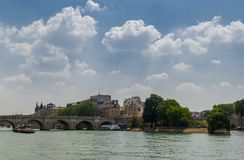 View of Cite Island. With Pont Neuf bridge and Seine river in Paris royalty free stock photo