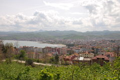 View of the city of Ünye (Turkey) Stock Images