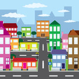 View of city. District of city in sunny day Royalty Free Stock Images