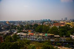 View of the city from above, houses and temples.View from the bird's flight.Bangkok.Thailand Royalty Free Stock Photography