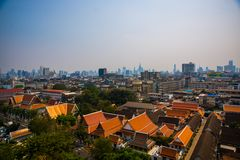 View of the city from above, houses and temples.View from the bird's flight.Bangkok.Thailand Stock Photos
