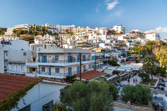 View on city of Aghia Galini on Crete island, Greece. Stock Photos