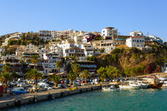 View on city of Aghia Galini on Crete island Stock Photos