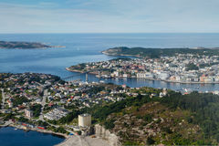 View on city from airplane. View on Kristiansund city from airplane. Norway. Horizontal shot Stock Photos