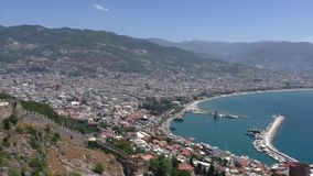 View of the city Alanya, Turkey. View from the top observation deck. stock footage