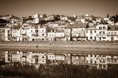 View of city Alcacer do Sal near the river Sado in Portugal Stock Photography