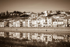 View of city Alcacer do Sal near the river Sado in Portugal Royalty Free Stock Photos