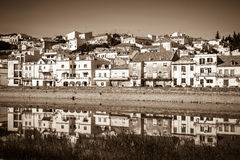View of city Alcacer do Sal near the river Sado in Portugal Stock Images