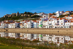 View of city Alcacer do Sal near the river Sado in Portugal Stock Photos