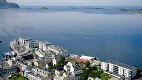 Beautiful City Of Alesund And Bay Of The North Cold Sea In Norwegian Fjords. View of the city of Alesund located on the Bay of the north sea in the norwegian stock video footage