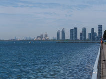 View of city along the lakeshore Stock Image