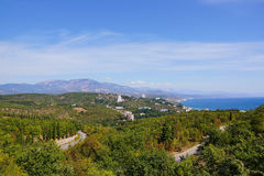 View of the city of Alushta. Crimea. Nature southern coast of Crimea. City Alushta and the mountain Demerdzhi Royalty Free Stock Photography