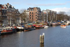 A view of the city of Amsterdam with canal houses Stock Photo
