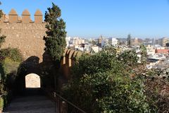 View of the city. From ancient castle in Spain stock photos