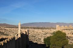 View of the city. From ancient castle in Spain stock image