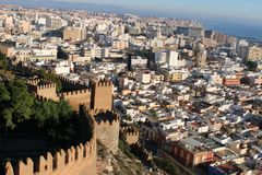 View of the city. From ancient castle in Spain stock images