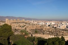 View of the city. From ancient castle in Spain stock photography