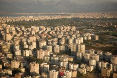 View of the city of Antalya, Turkey, from the aircraft. September, 2017. View of the city of Antalya, Turkey, from the aircraft royalty free stock images