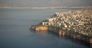 View of the city of Antalya, Turkey, from the aircraft royalty free stock images