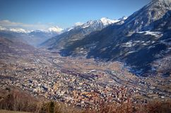 View of city of Aosta, Italy, and its valley Royalty Free Stock Image