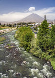 View of the City of Arequipa and Chili river, Peru Stock Photos