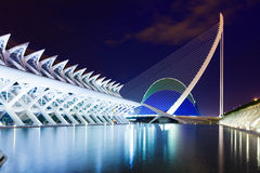 View of City of Arts and Sciences in night time. VALENCIA, SPAIN - AUGUST 26: View of City of Arts and Sciences in night time on August 26, 2013 in Valencia Royalty Free Stock Photography